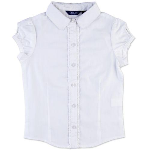 Girls 4-6x Chaps Ruffled Woven School Uniform Short-Sleeve Shirt