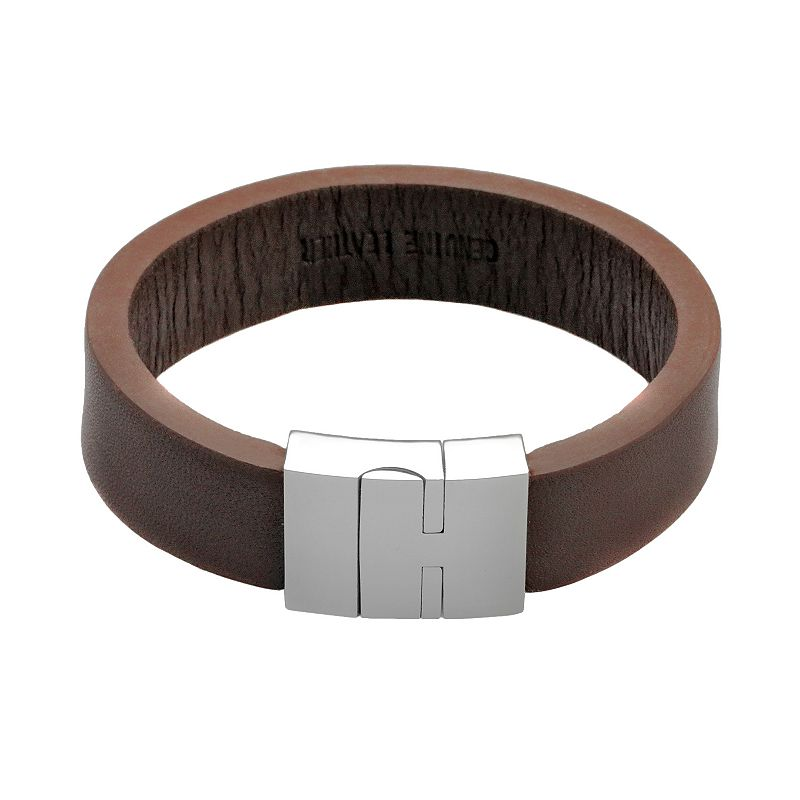 Stainless Steel and Brown Leather Bracelet - Men