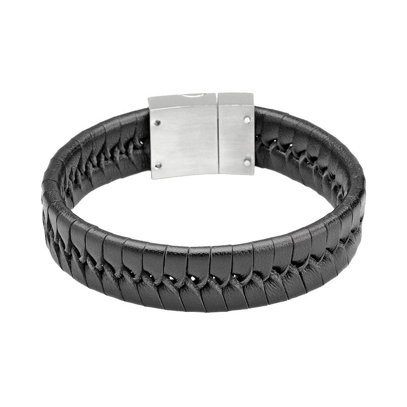 Stainless Steel and Black Leather Bracelet - Men