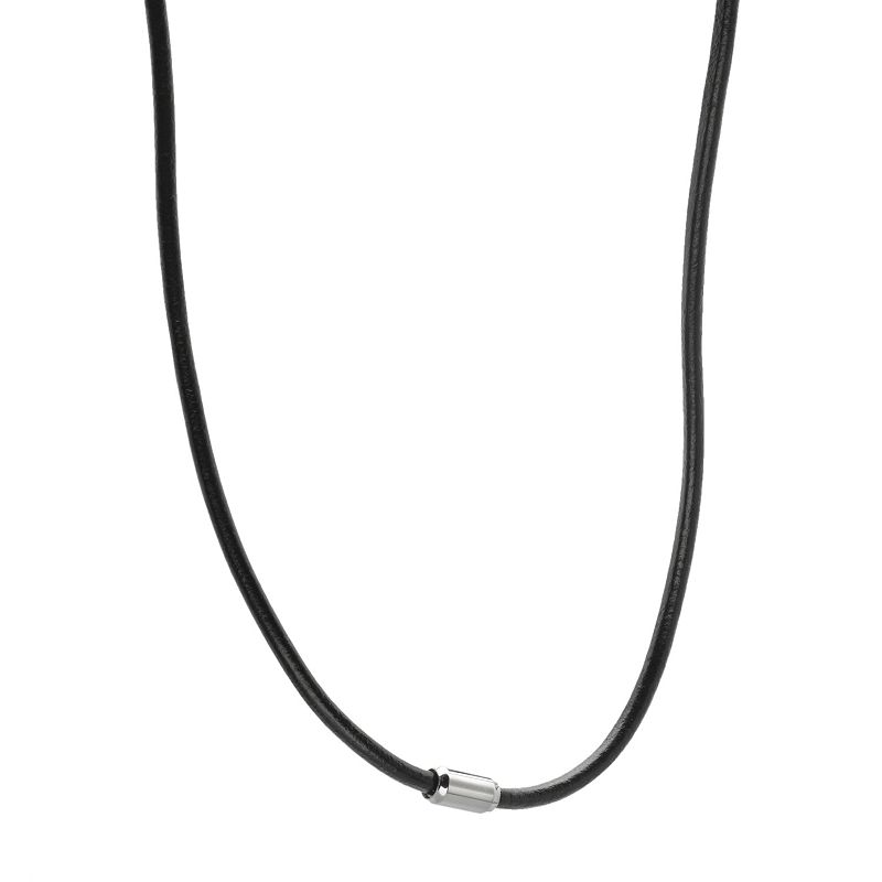Stainless Steel and Black Leather Necklace - Men