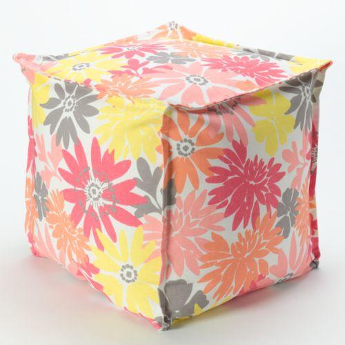 Idea Nuova Floral Pouf