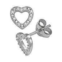Sophie Miller Sterling Silver Cubic Zirconia Heart Stud Earrings