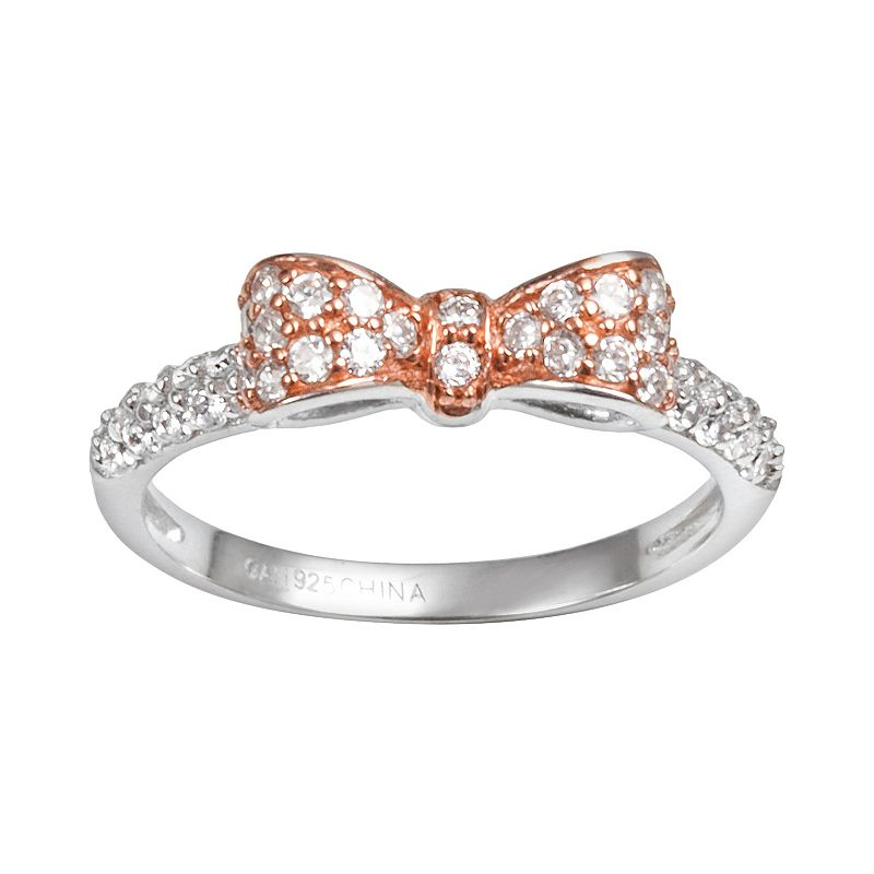 Sophie Miller 14k Rose Gold Over Silver and Sterling Silver Cubic Zirconia Bow Ring