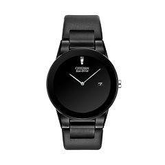 Citizen Eco-Drive Stainless Steel Black Ion Leather Watch AU1065-07E Men