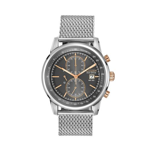 Citizen Eco-Drive Two Tone Stainless Steel Chronograph Mesh Watch - CA0336-52H - Men