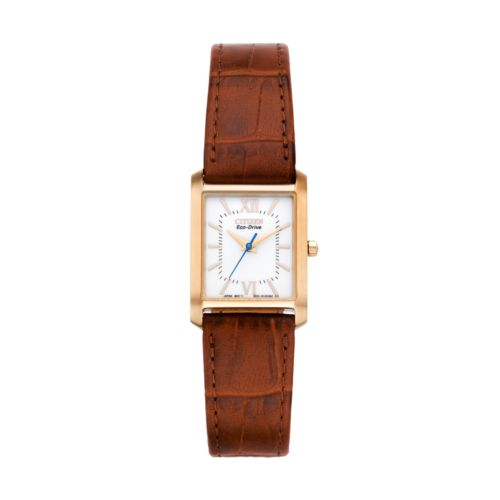 Citizen Eco-Drive Rose Gold Tone Stainless Steel Leather Watch - EP5918-06A - Women
