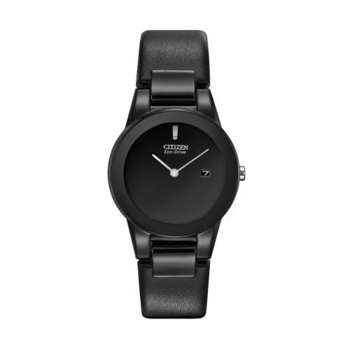 Citizen Eco-Drive Stainless Steel Black Ion Leather Watch - GA1055-06E - Women
