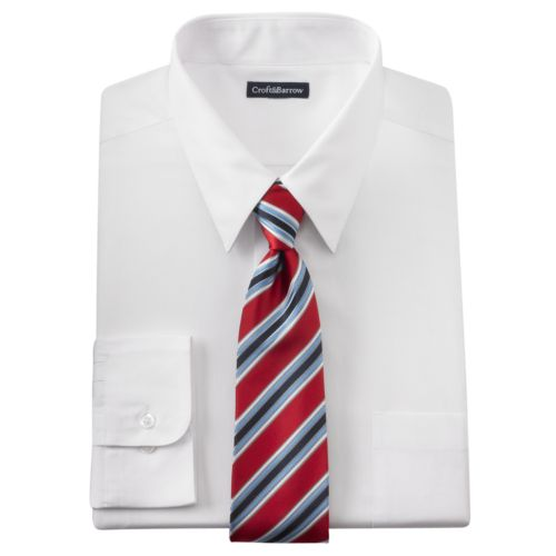 Big & Tall Croft & Barrow® Classic-Fit Point-Collar Dress Shirt and Striped Tie Boxed Set
