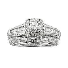 14k White Gold 1-ct. T.W. IGL Certified Round-Cut Diamond Frame Ring Set by