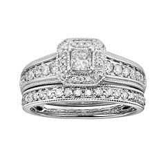 14k White Gold 1-ct. T.W. IGL Certified Princess-Cut Diamond Frame Ring Set by