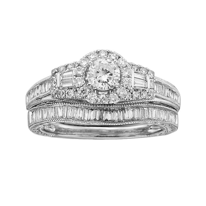 14k White Gold 1-ct. T.W. IGL Certified Round-Cut Diamond Frame Ring Set