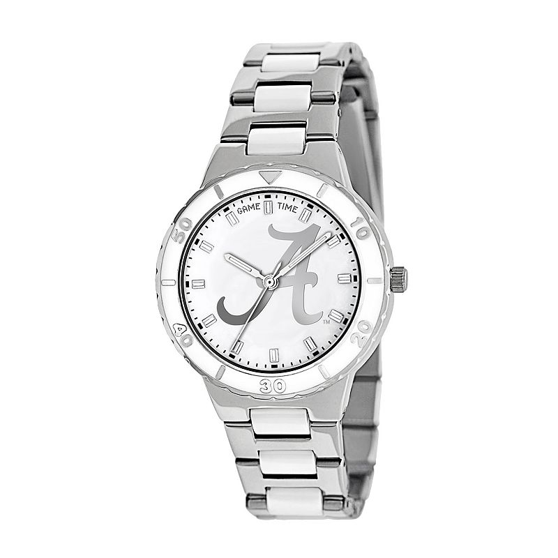 Game Time Pearl Series Alabama Crimson Tide Stainless Steel and White Ceramic Mother-of-Pearl Watch - COL-PEA-ALA2 - Women