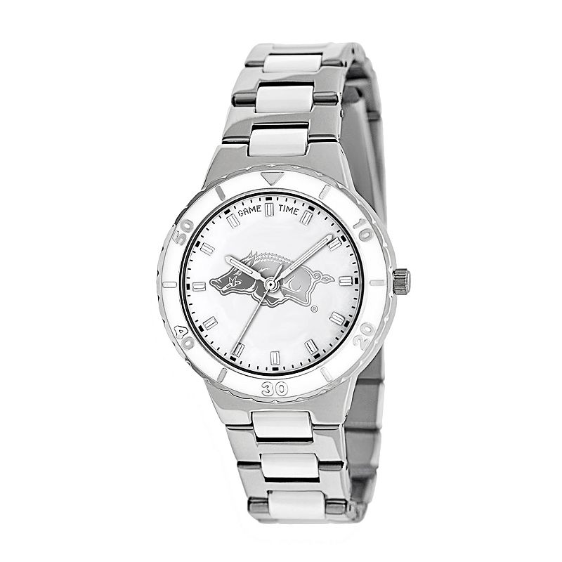 Game Time Pearl Series Arkansas Razorbacks Stainless Steel and White Ceramic Mother-of-Pearl Watch - COL-PEA-ARK - Women