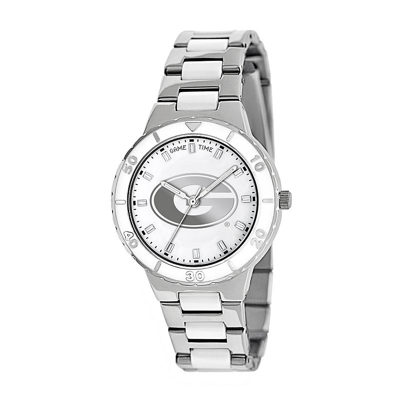 Game Time Pearl Series Georgia Bulldogs Stainless Steel and White Ceramic Mother-of-Pearl Watch - COL-PEA-GEO - Women