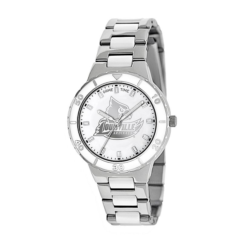 Game Time Pearl Series Louisville Cardinals Stainless Steel and White Ceramic Mother-of-Pearl Watch - COL-PEA-LOU - Women