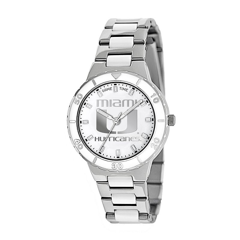 Game Time Pearl Series Miami Hurricanes Stainless Steel and White Ceramic Mother-of-Pearl Watch - COL-PEA-MIA - Women