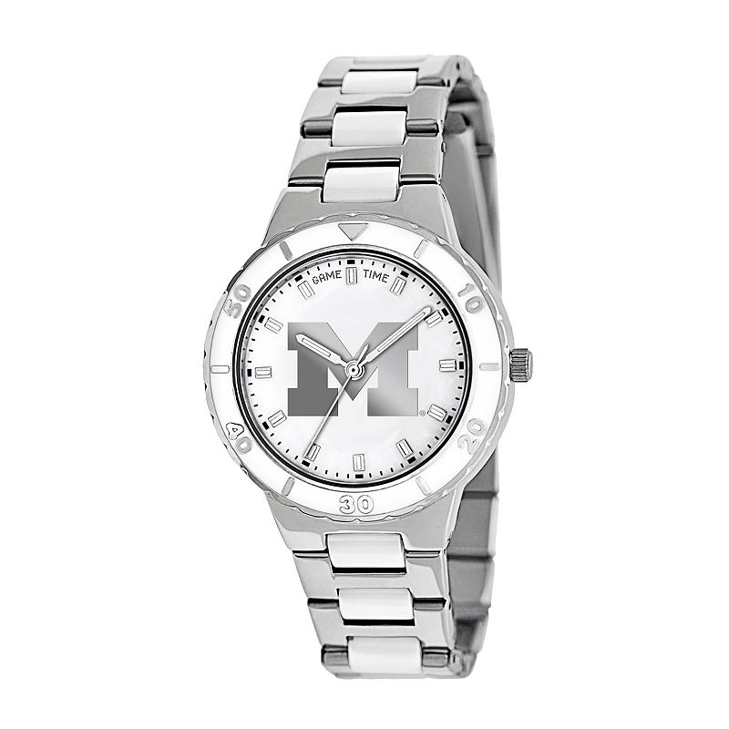 Game Time Pearl Series Michigan Wolverines Stainless Steel and White Ceramic Mother-of-Pearl Watch - COL-PEA-MIC - Women