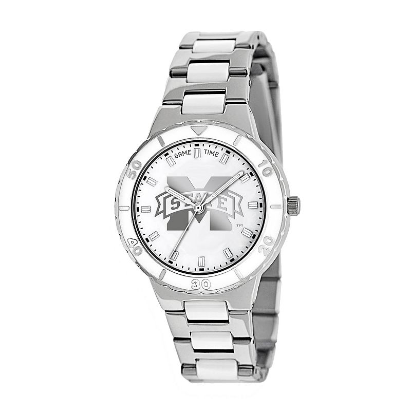 Game Time Pearl Series Mississippi State Bulldogs Stainless Steel and White Ceramic Mother-of-Pearl Watch - COL-PEA-MSS - Women