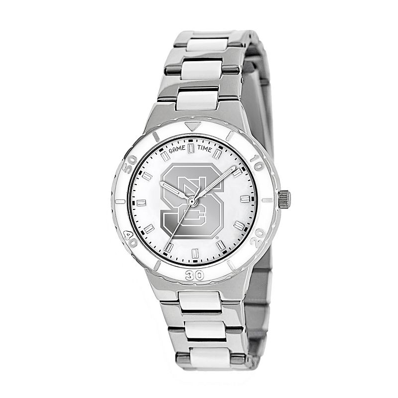 Game Time Pearl Series North Carolina State Wolfpack Stainless Steel and White Ceramic Mother-of-Pearl Watch - COL-PEA-NCS - Women
