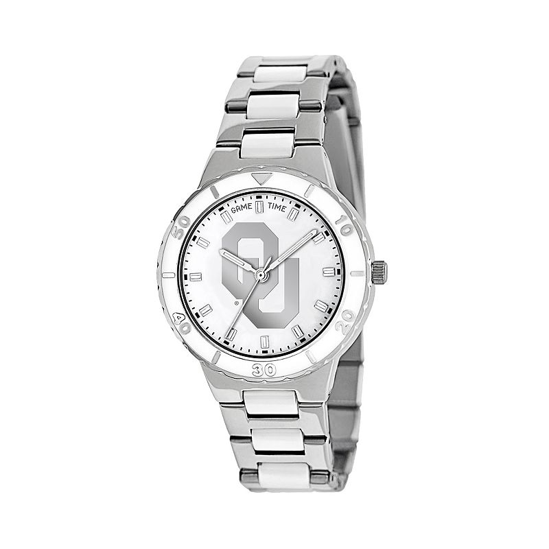 Game Time Pearl Series Oklahoma Sooners Stainless Steel and White Ceramic Mother-of-Pearl Watch - COL-PEA-AOK - Women