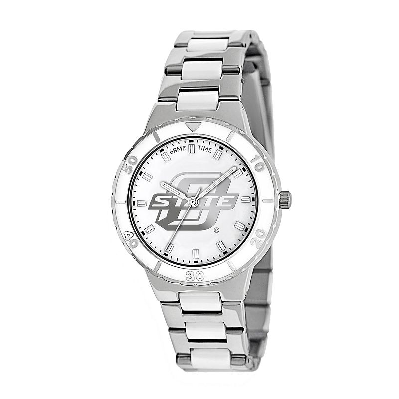 Game Time Pearl Series Oklahoma State Cowboys Stainless Steel and White Ceramic Mother-of-Pearl Watch - COL-PEA-OKS - Women