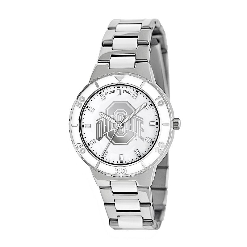 Game Time Pearl Series Ohio State Buckeyes Stainless Steel and White Ceramic Mother-of-Pearl Watch - COL-PEA-OSU - Women