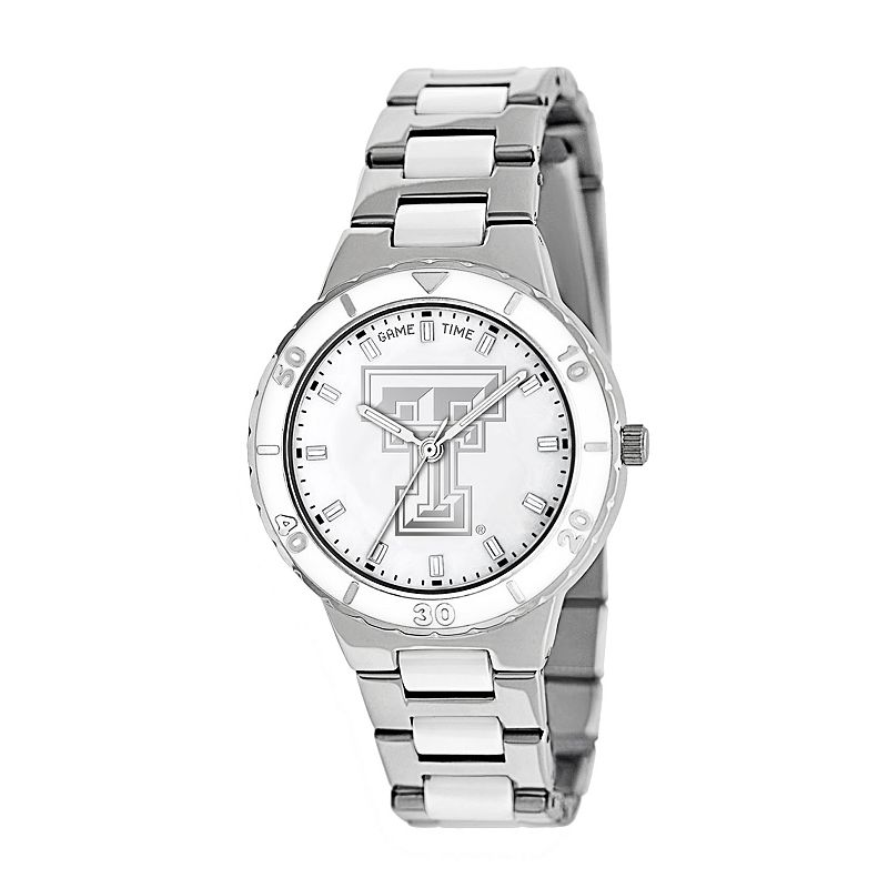 Game Time Pearl Series Texas Tech Red Raiders Stainless Steel and White Ceramic Mother-of-Pearl Watch - COL-PEA-TXT - Women