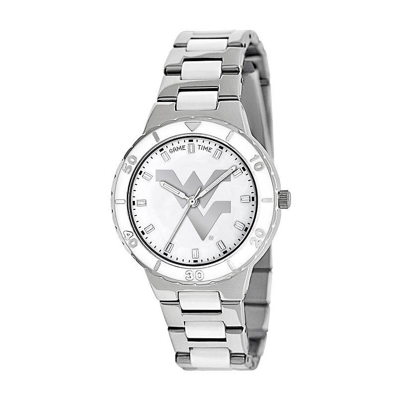 Game Time Pearl Series West Virginia Mountaineers Stainless Steel and White Ceramic Mother-of-Pearl Watch - COL-PEA-WVU - Women
