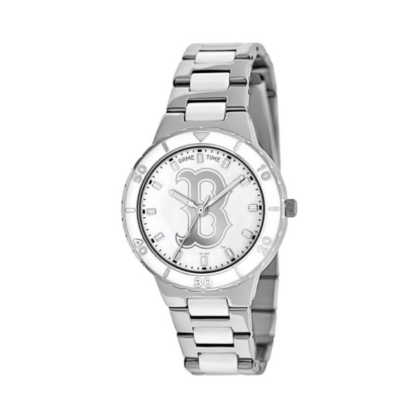 Game Time Pearl Series Boston Red Sox Stainless Steel and White Ceramic Mother-of-Pearl Watch - MLB-PEA-BOS - Women