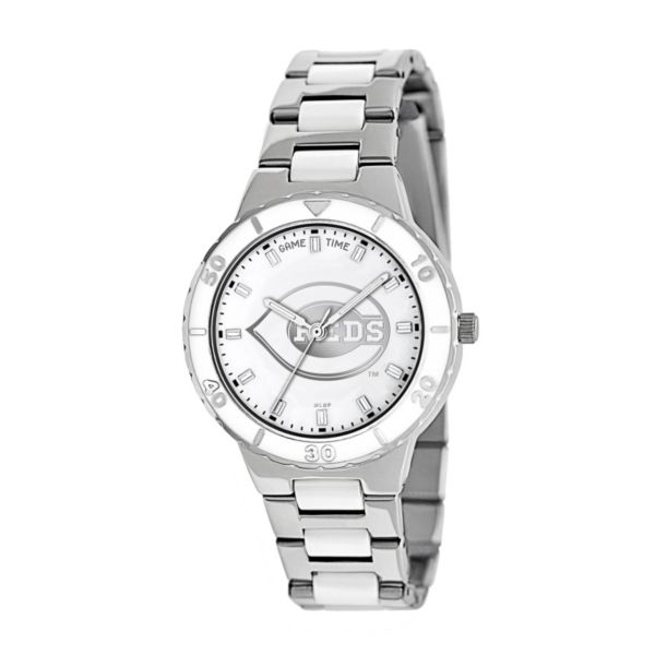 Game Time Pearl Series Cincinnati Reds Stainless Steel and White Ceramic Mother-of-Pearl Watch - MLB-PEA-CIN - Women