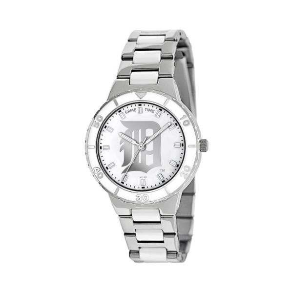 Game Time Pearl Series Detroit Tigers Stainless Steel and White Ceramic Mother-of-Pearl Watch - MLB-PEA-DET - Women