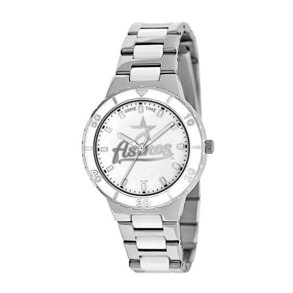 Game Time Pearl Series Houston Astros Stainless Steel and White Ceramic Mother-of-Pearl Watch - MLB-PEA-HOU - Women