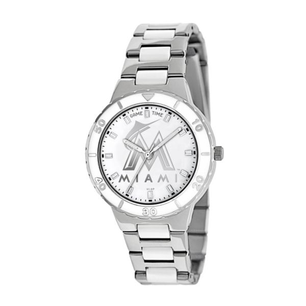 Game Time Pearl Series Miami Marlins Stainless Steel and White Ceramic Mother-of-Pearl Watch - MLB-PEA-MIA - Women