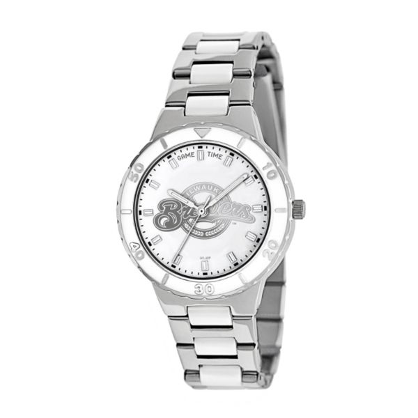 Game Time Pearl Series Milwaukee Brewers Stainless Steel and White Ceramic Mother-of-Pearl Watch - MLB-PEA-MIL - Women