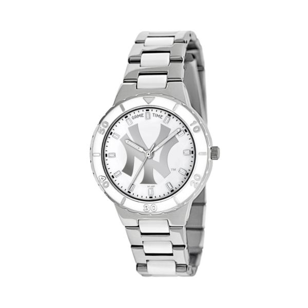Game Time Pearl Series New York Yankees Stainless Steel and White Ceramic Mother-of-Pearl Watch - MLB-PEA-NY3 - Women