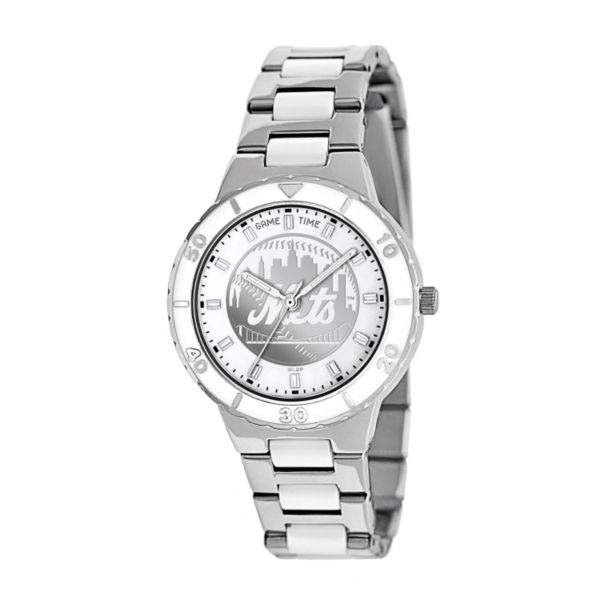 Game Time Pearl Series New York Mets Stainless Steel and White Ceramic Mother-of-Pearl Watch - MLB-PEA-NYM - Women