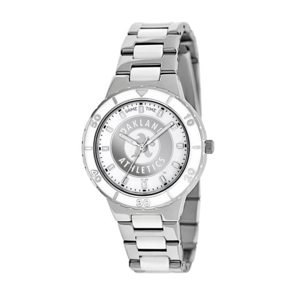 Game Time Pearl Series Oakland Athletics Stainless Steel and White Ceramic Mother-of-Pearl Watch - MLB-PEA-OAK - Women