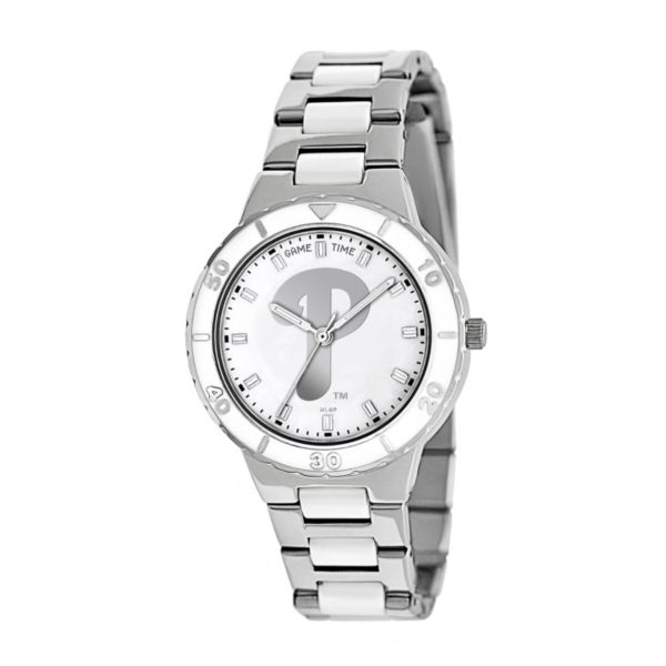 Game Time Pearl Series Philadelphia Phillies Stainless Steel and White Ceramic Mother-of-Pearl Watch - MLB-PEA-PHI - Women