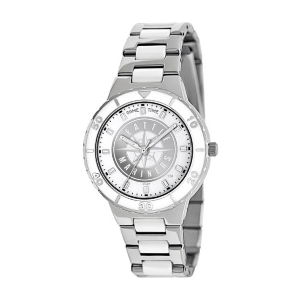 Game Time Pearl Series Seattle Mariners Stainless Steel and White Ceramic Mother-of-Pearl Watch - MLB-PEA-SEA - Women
