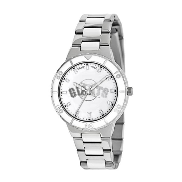 Game Time Pearl Series San Francisco Giants Stainless Steel and White Ceramic Mother-of-Pearl Watch - MLB-PEA-SF - Women