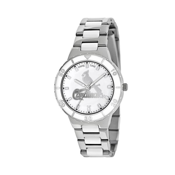 Game Time Pearl Series St. Louis Cardinals Stainless Steel and White Ceramic Mother-of-Pearl Watch - MLB-PEA-STL - Women