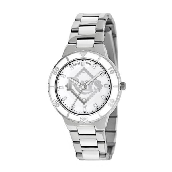 Game Time Pearl Series Tampa Bay Rays Stainless Steel and White Ceramic Mother-of-Pearl Watch - MLB-PEA-TB - Women