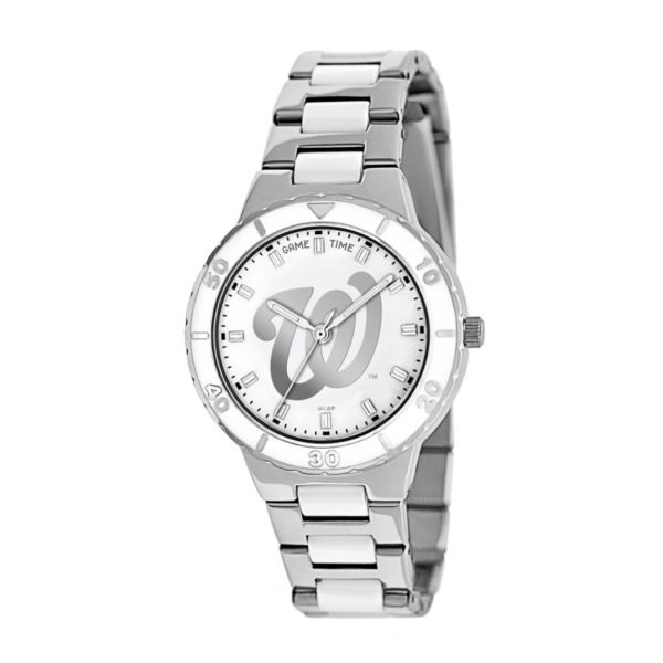 Game Time Pearl Series Washington Nationals Stainless Steel and White Ceramic Mother-of-Pearl Watch - MLB-PEA-WAS - Women