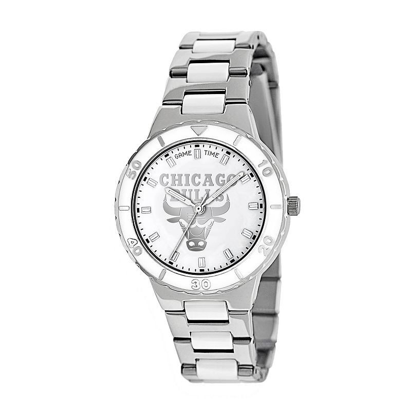 Game Time Pearl Series Chicago Bulls Stainless Steel and White Ceramic Mother-of-Pearl Watch - NBA-PEA-CHI - Women