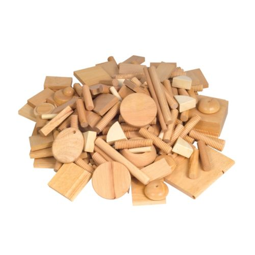 Guidecraft 6 lbs. Varied Design Wood Shapes