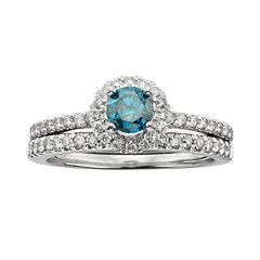 Round-Cut IGL Certified Blue & White Diamond Frame Engagement Ring Set in 14k White Gold (1 ct. T.W.) by