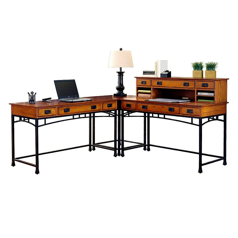 Modern Craftsman. L-Shaped Desk & Hutch Set