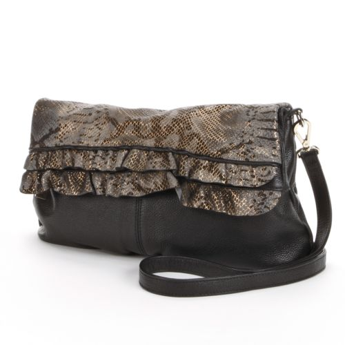 B-Collective by Buxton Leather Alexandria Metallic Ruffled Shoulder Bag