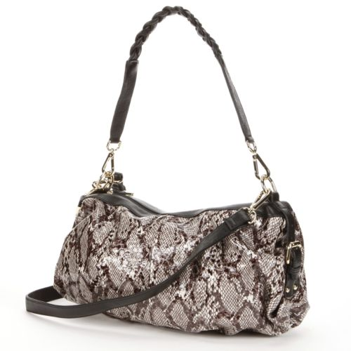 B-Collective by Buxton Margaret Leather Snakeskin Convertible Shoulder Bag