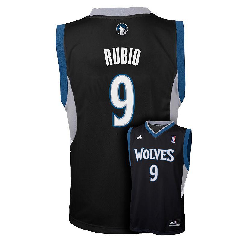 Boys 8-20 adidas Minnesota Timberwolves Ricky Rubio Black NBA Jersey